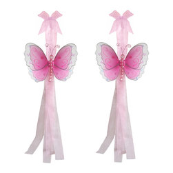 "Bugs-n-Blooms - Butterfly Tie Backs Dark Pink Multi-Layered Butterflies Tieback Pair Set Decorat - Window Curtains Holder Holders Tie Backs to Decorate for a Baby Nursery Bedroom, Girls Room Wall Decor - 5""W x 4""H Pink & White Multi-Layered Curtain Tieback Set Butterfly 2pc Pair - Beautiful window curtains tie backs for kids room decor, baby decoration, childrens decorations. Ideal for Baby Nursery Kids Bedroom Girls Room.  This gorgeous 3D butterfly tieback set is embellished with sequins, glitter and has a beaded body. This pretty butterfly decoration is made with a soft bendable wire frame & have color match trails of organza ribbons. Has 2 thick color matched organza ribbons to wrap around the curtains.  Visit our store for more great items. Additional styles are available in various colors, please see store for details. Please visit our store on 'How To Hang' for tips and suggestions. Please note: Sizes are approximate and are handmade and variances may occur. Price is for one pair (2 piece)"