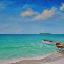 "Original Caribbean Seascape Painting Of A Negril Beach - This larger original 20""x40"" acrylic on canvas painting is professionally framed in a 2-1/2"" wide white wood frame and ready to hang."
