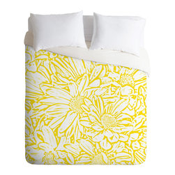 DENY Designs - Lisa Argyropoulos Daisy Daisy In Golden Sunshine Duvet Cover - Turn your basic, boring down comforter into the super stylish focal point of your bedroom. Our Luxe Duvet is made from a heavy-weight luxurious woven polyester with a 50% cotton/50% polyester cream bottom. It also includes a hidden zipper with interior corner ties to secure your comforter. it's comfy, fade-resistant, and custom printed for each and every customer.