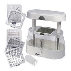 """Weston - Multi Chopper - Weston Multi Chopper.  Multi Chopper w/ three interchangeable blades (1/2"""" slicing, .25"""" dicing, apple core & wedge).   Large, easy-view container.   Measuring guide.   Slip-resistant bottom.   Blades store in container.   Cleaning comb.   Dishwasher safe."""