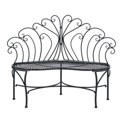 Gifts Galore - Peacock-inspired Patio Bench - Sit and enjoy as the cool shadows of evening begin to curl and climb throughout your yard.  This lovely garden bench features a scalloped seat and a beautiful decorative backrest made from black metal flourishes.  Some assembly required.