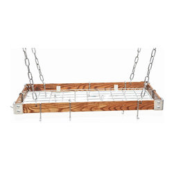 "Rogar - KD Rectangle with Grid, Dark Wood/Chrome - Dimensions:  30"" x 15"" x 2"""