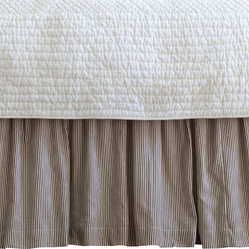Taylor Linens - Farmhouse Stripe Queen Bed Skirt - Wake up to timeless ticking. Brown and cream pinstripes will look great with everything from your cottage floral pillowcases to your modern channel-stitched quilt. Made of 100 percent cotton and machine washable, the bedskirt features a hemstitched edge and gentle ruffles for rest-easy style.