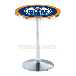 Holland Bar Stool - Holland Bar Stool L214 - Chrome Edmonton Oilers Pub Table - L214 - Chrome Edmonton Oilers Pub Table  belongs to NHL Collection by Holland Bar Stool Made for the ultimate sports fan, impress your buddies with this knockout from Holland Bar Stool. This L214 Edmonton Oilers table with round base provides a commercial quality piece to for your Man Cave. You can't find a higher quality logo table on the market. The plating grade steel used to build the frame ensures it will withstand the abuse of the rowdiest of friends for years to come. The structure is triple chrome plated to ensure a rich, sleek, long lasting finish. If you're finishing your bar or game room, do it right with a table from Holland Bar Stool.  Pub Table (1)