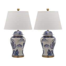 Safavieh - Shanghai Ginger Jar ZMT-LIT4173A (Set of 2) - Inspired by antique Chinese pottery depicting mountain and forest scenes, the Shanghai ginger jar lamp is in keeping with fashion's renewed reverence for Asian design. This classic lamp is crafted of ceramic with white linen shad and antique gold accents. (Sold in set of 2).
