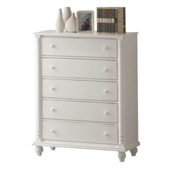 Coaster - Coaster Kayla 5 Drawer Chest in Distressed White Finish - Coaster - Chests - 201185 - Add this charming nightstand to your master bedroom for a casual cottage look that you will love. With simple style, this piece will add great style and functional to your room. Turned post corners, pretty turned feet, and wooden knobs create just the right look. Three spacious drawers offer you lots of storage space to keep all of your bedsides essentials, such as books and magazines, close at hand. With a distressed White finish, this piece is sure to match your space.