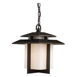 ELK Lighting - ELK Lighting 42172/1 Asian 1 Light Outdoor Pendant Light from the Kanso Collecti - *1 Light Outdoor Pendant Light in Hazelnut Bronze and White Glass