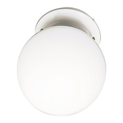 Premier Faucet - Globe 6 inch Ceiling Light - White - This globe ceiling fixture complements any decor. It features round ball glass with white accents.