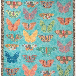 Manual - Butterfly Kaleidoscope Tapestry Throw Blanket 50 Inch x 60 Inch - This multicolored woven tapestry throw blanket is a wonderful addition to the decor of any bird lover. Made of cotton, the blanket measures 50 inches wide, 60 inches long, and has approximately 1 1/2 inches of fringe around the border. The blanket features a print of 27 multicolored butterflies on a turquoise blue background. Care instructions are to machine wash in cold water on a delicate cycle, tumble dry on low heat, wash with dark colors separately, and do not bleach. This comfy blanket makes a great housewarming gift that is sure to be loved.