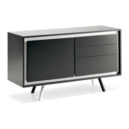 Cattelan Italia - Metropolis Credenza | Cattelan Italia - Made in Italy by Cattelan Italia. Aesthetically satisfying yet intelligently functional, the Metropolis Credenza is an artistic must-have for modern dining spaces. Keep cutlery and dinnerware tidy in style with this urban-chic solid timber storage solution, featuring witty slanted legs. The piece is customizable to several configurations, consisting of a combination of cabinets and drawers, depending on user needs. To add flavor to the look, choose from a selection of structure and profile finish options. Choice of sizes also offered.