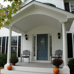 Portico's and/or Front Doors - Portico with new front door and sidelights and new concrete flooring.