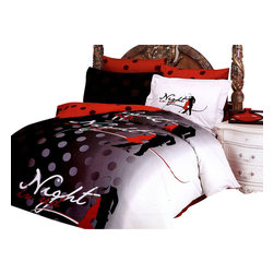 Le Vele - 6 Pc Queen Tango Duvet Cover Bedding Set - Includes one flat bed sheet, one duvet cover, two pillow cases and two flanged pillow cases. 305 thread count. Imported. Machine washable. Tumble dry. Red, black and white features a dancing couple. Reverses to red with dark gray pock-dots. Snap at the foot of the duvet make it easy to insert a comforter. Oversized flat sheet provides versatility. Tucked in or can hang over eliminating the need for a bed skirt. High quality cotton fabric and superior workmanship with fine yarns of satin weaving for wrinkle control. Printed with the latest reactive dyeing technology. Excellent brightness and long lasting colors. Sheets feel soft and inviting. Made from cotton. Flat Bed Sheet: 102 in. L x 94 in. W. Duvet Cover: 87 in. L x 80 in. W. Pillow Cases: 30 in. L x 20 in. W. Flanged Pillow Cases: 32 in. L x 20 in.W