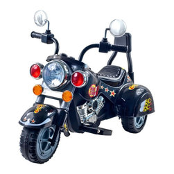 Trademark Global - Lil' Rider Wild Child 3-Wheeler Motorcycle in - Comes with battery and charger. Battery: 6V - 4AH. Motor: 18W. Speed: 3 mph. Easy to put together . Sharp colorful decorations. Chrome colored highlights. Ages: 2-4 years. 34 in. L x 22 in. W x 25.5 in. HWith its ultimate Motorcycle like style, chrome color highlights and Harley styling, kids can experience the excitement of Motorcycle riding in their own driveway with this Batter Operated Lil' Rider Harley Style Wild Child Motorcycle! Give your kid the chance to be like Dad, also to be the envy of every kid on the block. It will bring excitement to every kids play time, while taking kids on a thrilling adventure! It has buttons for sound effects and a headlight that lights up! Also goes in reverse.