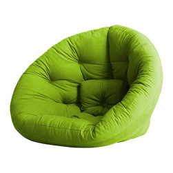 Fresh Futon - Nest Convertible Futon Chair/Bed, Lime Mattress - After a long hard day you can feel snug retreating to the Nest by lounging in this folded cone-shaped chair or lying on it unfolded as a mattress, you can even combine two for an even