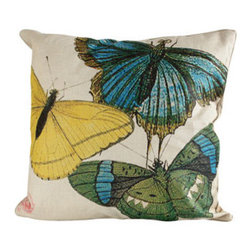 Blue, Green & Yellow Butterflies Euro Pillow - Beautiful butterflies have landed on this darling pillow.  Toss this linen pillow on a bed or let it create enchantment in a living room or out on a covered porch.
