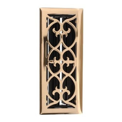 "Wood Ventures - Decorative Floor Grate, 4""x14"", Solid Brass 414BVBR - Introduce a touch of elegance with a Solid Brass grille. Created in a Victorian style, with fully adjustable dampers. Sealed with a laquer finish for maximum protection, there's no need for cleaning or rubbing of any kind to maintain a shiny, lustrous finish."