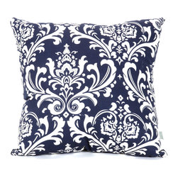 Majestic Home - Indoor Navy and White French Quarter Large Pillow - Won't this lively pattern look great in your mix? Available in a host of cool colors, it complements the stripes and solids already in your decor, and the durable cotton twill fabric feels as good as it looks.