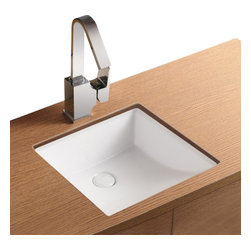 Caracalla - Square White Ceramic Undermount Bathroom Sink, No Hole - Square porcelain ceramic sink made by Caracalla in Italy. Designed as an undermounted sink with overflow and no faucet hole options. Unique to this sink is the front downward slope.
