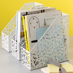 Vinea Magazine File - White - Add a little modern botanical flair to your office with these contemporary magazine files.