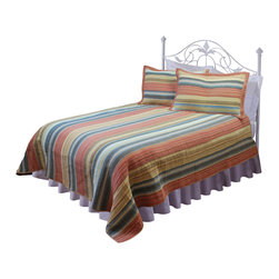 Pem America - Vintage Chic Full / Queen Quilt with 2 Shams - Classic stripes in a yarn dye shabby chic look.  This 100% cotton face quilt is filled with cotton for a superior feel not matter what time of year it is. The soft cotton face will remind you of your favorite shirt that you love for those afternoon naps.