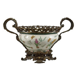 Oriental Danny - Porcelain planter with bronze ormolu - Place a real showstopper on your table with this stunning handmade porcelain planter. Elegantly hand painted in a pleasing botanical pattern, this planter also features bronze ormolu details, such as the helpful handles on each side.