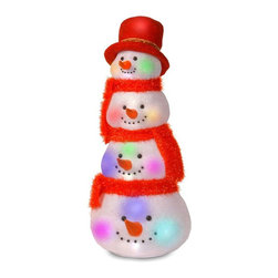 National Tree Company - 29 in. Snowman Head Tower - MZSH-29CL-A - Shop for Holiday Ornaments and Decor from Hayneedle.com! Why settle for a single snowman when you can display the 29 in. Snowman Head Tower? Stacked with festive spirit this display shines with 20 clear flashing LED lights colorful scarves and a hat. It s perfect for indoor or outdoor use thanks to durable materials and a wire frame.About National Christmas ProductsNational Christmas Products isn't quite Santa's workshop but they're getting closer with each passing year. A variety of holiday decor products are offered by the company including wreaths garlands Christmas trees and more. Each of the greenery products are artificial for a long-lasting indoor/outdoor design but feature a Feel-Real aesthetic that's nearly indistinguishable from a fresh-cut tree. Several sizes and colors of trees are available with many pre-lit options. Whatever your need National Christmas Products is here to serve.