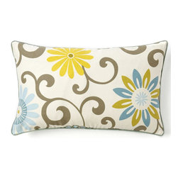 JITI - Small Ply Sky Cotton Pillow - Fresh and floral, this pretty pillow is sure to put some spring in your decor's step. Adorned with curlicues and sunny blooms, this little accent adds a lot of cheer to any space.