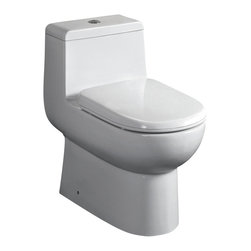 Fresca - Fresca Antila One-Piece Dual Flush Toilet w/ Soft Close Seat - The Antila elongated, one-piece toilet features an elegant, sophisticated design, that is both comfortable look at and to sit on. This toilet features a dual flushing system with option of a 0.8gpf or 1.6gpf.  This great feature makes it really easy to conserve water.  It also features a fully glazed inner trapway and comes with a stain resistant polish making it easy to keep clean.