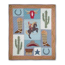 Patch Magic - Cowgirl Throw - 50 in. W x 60 in. L. 100% Cotton. Handmade, hand quilted. Machine washable. Line or flat dry only