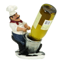"Benzara - Chef Wine Holder A French Fat Chef - Feel pride for having something great at bar area. 35599 CHEF WINE HOLDER creates a feeling of having something unique because of its unique design concept depicting a French Fat Chef With Bucket Wine Bottle Holder that facilitates to arrange multiple bottles in style.; Material: Cold cast resin composite material; Color: Green, white and black; Good for holding one wine bottle; Supporting decor; Hard to be seen elsewhere; Exclusively designed for limited edition; Dimensions: 10""H x 7""W"