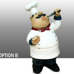 Fat Chef Kitchen Statue with Pancake on Head Table Top Art Figurine Option B - Beautiful Fat Chef Pancake on Head.