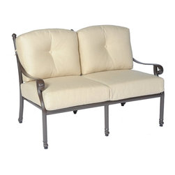 Meadow Decor - Meadow Decor Kingston Loveseat - 2662-45-7502-LS-5476 - Shop for Chairs and Sofas from Hayneedle.com! Add vintage elegance and a classic look to your patio or deck with the Meadow Decor Kingston Loveseat. With excellent craftsmanship this loveseat is made from rust-resistant cast aluminum and comes in your choice of powder-coated finishes. Designed for comfort this loveseat is deep seated allowing you to sit down sink back and relax. It's also a great love seat for intimate conversations over a glass of wine while you enjoy a warm summer evening. The cushions come in your choice of color so you can accent your existing patio furniture and complement your entire outdoor decor. The Kingston Loveseat is also great for enjoying a book or magazine and taking a break from the business of the day. Made so you don't have to sacrifice style and beauty for comfort this loveseat is also a gorgeous addition to your front porch so you can sit and chat with your neighbors as they pass by. If you remove the back cushions you can display the intricate scrollwork and detailing on the back of this loveseat. Includes a 10-year warranty on the frame and a 3-year finish warranty. Cushion construction is covered for 1 year while Sunbrella fabrics have a 5-year fade warranty. About SunbrellaSunbrella has been the leader in performance fabrics for over 45 years. Impeccable quality sophisticated styling and best-in-class warranties prove the new generation of Sunbrella offers more possibilities than ever. Sunbrella fabrics are breathable and water-repellant. If kept dry they will not support the growth of mildew as natural fibers will. Beautiful and durable Sunbrella is a name you can trust in your outdoor furniture. Cleaning and Caring for SunbrellaRegular maintenance is the best way to keep your Sunbrella fabrics looking good and delay deep vigorous cleaning. Brush off dirt before it becomes embedded in the fabrics and wipe up spills as soon as they occur. For light cleaning use a mild soap and water solution and a sponge allowing your cleaning solution to soak into the fabric. Rinse thoroughly to remove all soap residues and allow fabric to air dry. About Meadow DecorMeadow Decor is a leader in the casual and outdoor furniture industry thanks to its elegant and unique designs affordable prices and insistence on premium-quality products and construction. Meadow Decor customers are guaranteed to be served to their full satisfaction; the company's goal is to provide each valued customer with top-quality products attentive service and the best possible prices. The combination of ingenious designs and value for money makes Meadow Decor the ideal choice for outdoor living and entertaining.