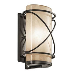 """Kichler - Kichler 49358AZ Trafari 1 Light Outdoor Wall Sconce in Architectural Bronze 4935 - This 1 light outdoor wall fixture from the Trafari collection leaves a luminous impression. The Vetro Mica Glass, rich Architectural Bronze finish, and linear detailing will elevate and enhance any space.Single bulb outdoor wall sconces add a touch of elegance to any landscape Housing is constructed of metal - providing years of reliable performance Ultra secure mounting assemblyBase Backplate: 5"""" x 13"""" Bulb Base: Medium Bulb Type: Incandescent Bulbs Included: No Collection: Trafari Country of Origin: China Energy Efficient: No Extends: 8-1 4 Finish: Architectural Bronze Height: 14-3 4 Light Direction: Ambient Lighting Number of Lights: 1 Shade Color: Cream Shade Material: Glass Shade Shape: Cylinder Style: Transitional Voltage: 120 Wattage: 150 Weight: 6.3 Width: 10"""