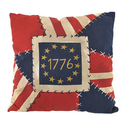 Zeckos - Vintage Look 1776 American Flag Patchwork Throw Pillow 16 in. - Add a touch of 18th Century Boston to your contemporary home decor with this decorative throw pillow. It features an antiqued patchwork design of red, white and blue solids and stripes, with blue embroidery stitching that makes the pillow look hand sewn. The center has a ring of antiqued white stars with '1776' in the center. The pillow measures 16 inches tall, 16 inches wide. The exterior is 100% cotton, the inner stuffing is polyester. This pillow looks great on beds, chairs, and couches anywhere in your home.