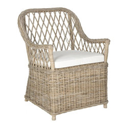 Safavieh - Maluku Arm Chair - Casual and charming, the Maluka Kubu grey rattan arm chair with off-white cushion is as inviting as mint juleps on the back porch on a summer day. Crafted with double lattice weave back and classic woven bottom, this chair comes in a natural soft grey.