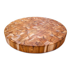 Proteak - Proteak End Grain 18 x 2 Round - A favorite, this is a stunning teak board that is 18 inches across.