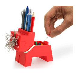 j-me - Rocky Desktop Butler, Red - The Rocky Desk Butler - Desktop Organizer is a fun and playful desk organizer in the shape of a dog. He has a magnetic mouth for paper clips, he holds pens and pencils, he has easy storage for rubber bands around his neck and a small storage space on his back.