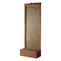 "Bluworld Innovations, LLC - Gardenfall Metaline Rear Mount Fountain 90""H x 32""W Coppervein - 90"" Floor fountain - Coppervein Frame Color - Water Panel Natural Raja Slate. With the Gardenfall, it's easy to enjoy the soothing sights and sounds of water falling gently passed polished river rock year-round. Designed for today's decors, its clean, contemporary design enriches any space, while its humidifying and air-cleansing properties promote a healthier living environment. Model GF8CS features a unique natural slate surface and coppervein frame. Quiet operation and durable materials make the Gardenfall suitable for both indoor and outdoor use."