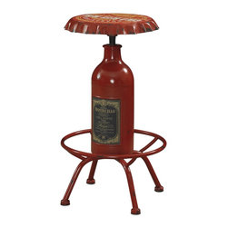 Powell - Powell Bottle Bar Stool X-727-768 - Like an antique shop discovery or swap meet treasure, this metal bar stool is reminiscent of another era. It features distressed signage and form lending to function, with a bottle-shaped center post and an oversized bottle cap seat. Can even function as an accent table. It will make an instant impression anywhere in your home. Fully assembled.