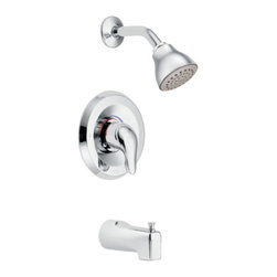 "Moen - Moen L2353 Chrome Posi-Temp Tub/Shower Valve & Trim Pressure Balancing Valve - Moen L2353 is part of the Chateau bath collection in a Chrome finish. Moen L2353 Posi-Temp Tub and Shower trim includes a pressure balancing valve with adjustable temperature limit stop. The Chateau bath collection has modern rounded styling and classic clean curves that keep the classical meaning around in any homes decor. Moen L2353 Tub and Shower valve and trim includes single-function pressure balancing Cartridge. Back to back capability. Moen L2353 is a single handle tub and shower valve and trim, the handle adjusts temperature. Moen L2353 Tub and Shower valve and single handle trim provides for ease of operation. Moen L2353 Posi-Temp pressure balancing valve maintains water pressure and controls temperature. Moen L2353 includes Easy Clean XL single function showerhead 2.5 GPM max., arm flange, and a 5 1/2"" slip fit diverter tub spout. Moen L2353 is ADA approved. Chrome is a proven finish from Moen and provides style and durability. Moen L2353 metal lever handle meets all requirements of ADA CSA B125.1, ASSE 1016, ASME A112.18.1, ANSI A117.1. Lifetime Limited Warranty."