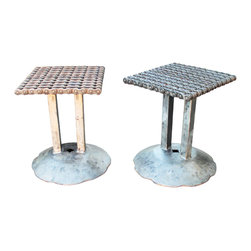Recycled Salvage Chain Art Design - Welded Chain Art Metal Idustrial Style Stool or Side Tables - Set of 2 chain metal stools or end tables you choose