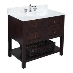 Kitchen Bath Collection - New Yorker 36-in Bath Vanity (White/Chocolate) - This bathroom vanity ...