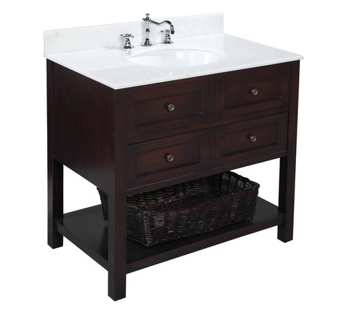 Kitchen Bath Collection - New Yorker 36-in Bath Vanity (White/Chocolate) - This bathroom vanity set by Kitchen Bath Collection includes a chocolate cabinet with soft-close drawer, white marble countertop, undermount ceramic sink, pop-up drain, and P-trap. Order now and we will include the pictured three-hole faucet and a matching backsplash as a free gift! All vanities come fully assembled by the manufacturer, with countertop & sink pre-installed.