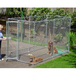 Jewett-Cameron Companies - Lucky Dog Box Kennel without Cover, 10'L x 5'W - Box dog kennel. Easy to assemble welded and galvanized frame. Square corner safety design. Pre-assembled gate for ease of set up.