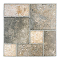 None - SomerTile 17.75x17.75-inch Salvador Magma Ceramic Floor and Wall Tile (Case of 8 - The SomerTile Salvador Magma 17.75 inch x 17.75 inch Ceramic Floor and Wall Tile is a Versailles pattern tile and mimicks authentic stone.  Dramatic veining,stormy gray pieces,beige pieces and a rustic,worn look.