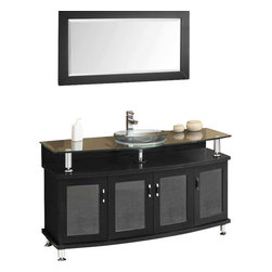 """Fresca - Fresca Contento 55"""" Modern Bathroom Vanity w/Tempered Glass Sink - A tempered glass sink and countertop is perched atop oak cabinetry with tons of space for your balms and creams, or maybe just one lovely, blooming orchid plant. Have the bathroom decor you've always dreamed of and you will always start your day well groomed and in a good groove."""