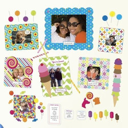 """BUTCH & harold - Butch and Harold Sweet Stickr Frame Wall Sticker - Our Sweet set of Stickr Frames depict exactly what you'd think plenty of candy color with ice cream and other features that express joy. The set comes with an 8""""x10"""", two 4""""x6"""", two 4""""x4"""" and two 3""""x3"""" frames for your enjoyment along with a three dry erase notes, three talk bubbles, six name plates and a plethora of stickers.  Easily frame and hang all of your favorite pictures without the hassle of hooks and hammers! Simply peel off the backing, attach your photos and stick on the wall. With Stickr frames you can create a whole gallery of pictures in minutes!"""