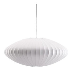 Zuo Lighting - Zuo Ageostrophic Ceiling Lamp, White - Hang the lovely elongated white orb of the Ageostrophic White Ceiling Lamp over your dining table or a favorite reading chair. Curved metal spokes are covered in white silk. It will spread a warm white light through any space.