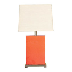 Mario Industries - Montaldo Ceramic Block Table Lamp-Coral - Simple clean lines are what this table lamp is all about. Coral ceramic body with dove fabric shade. Bulbs not included. Socket type: 3-way. UL Listed. Color/Finish: Coral. Overall Height: 26 in.. Shade Material: Dove linen. Shade Dimensions: (10 x 14) x (9 x 13) x 11 in.