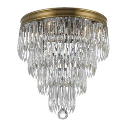 Crystorama - Crystorama Chloe Flush Mount Ceiling Fixture in Aged Brass - Shown in picture: Clear hand polished plug drop crystal accents with Aged Brass finish on a brass frame.; The clear crystal accents that adorn the brass banding compliment this antique inspired series to give the Chloe Collection a fashion forward flare.